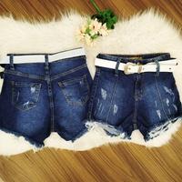 Shorts Jeans Pilily Cinto Barra Desfiada