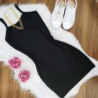 Vestido Canelado Curto Preto