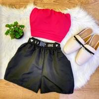 Shorts Com Cinto e Zíper Na Lateral