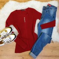 Blusa Canelada C/botões - Vermelho