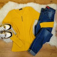 Blusa Canelada C/botões - Amarelo