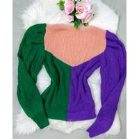Blusa Tricô 3 Cores - Rosa, Verde e Roxo