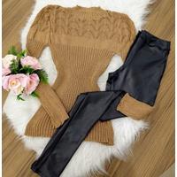 Blusa De Lã Com Gola - Marrom