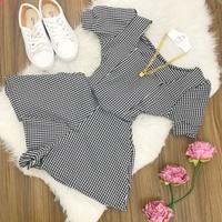 Conjunto | Shorts Gode e Cropped Pricesa| Xadrez Preto