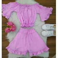Conjunto | Shorts e Cropped Ciganinha|lilás