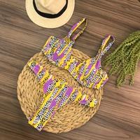 Conjunto Biquíni Meia Taça Onça Amarelo
