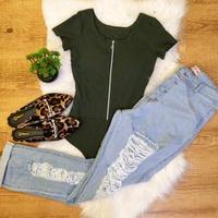 Body Com Ziper Verde