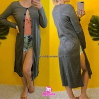 Kimono/maxi Cardigan Canelado Com Botões