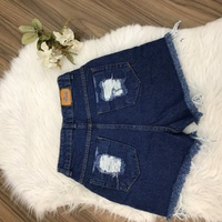 Shorts Jeans Melinda Escuro Rasgado