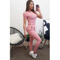 Conjunto| Blusa Manga Princessa e Calça C/ Fita - Rosa