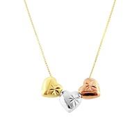 Gargantilha com 3 Corações 3 Cores em Ouro 18K - MI10166 - MICHELETTI JOIAS