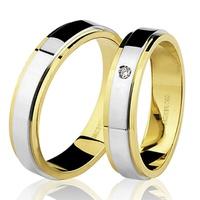 PAR de Aliança Bicolor com Brilhante em Ouro 18K - 76.0142.... - MICHELETTI JOIAS