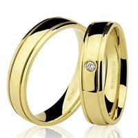 PAR de Aliança com Brilhante em Ouro 18K - 76.0216.2.003 - MICHELETTI JOIAS