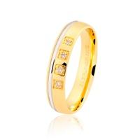Aliança Ouro 18K Bicolor Anatômica Filete e 4 Brilhantes 4mm... - MICHELETTI JOIAS