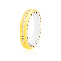 Aliança em Ouro Amarelo e Branco 18K 4mm com 15 Brilhantes -... - MICHELETTI JOIAS