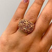 Anel Detalhe Flores Diamantadas em Ouro Rosé 18K - MI24850 - MICHELETTI JOIAS