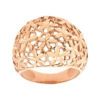 Anel Largo Detalhe Flores em Ouro Rosé 18K - MI24596 - MICHELETTI JOIAS