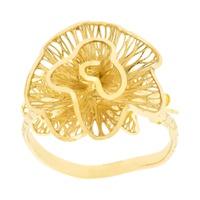 Anel de Flor em Ouro 18K Pétalas Onduladas Vazadas - MI25610 - MICHELETTI JOIAS
