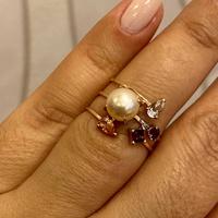Anel de Ouro Rosé 18K Pérola e Pedras Naturais - MI25992 - MICHELETTI JOIAS