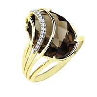 Anel Cristal Fumê e Brilhantes em Ouro 18K - MI15116 - MICHELETTI JOIAS