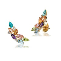 Brinco EarCuff de Ouro 18K com Pedras Naturais Coloridas - M... - MICHELETTI JOIAS