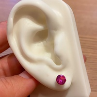 Brinco de Zircônia Cor Rubi-Rosa Ouro 18K 6mm - MI25465 - MICHELETTI JOIAS
