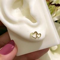 Brinco Infantil Coração Duplo Vazado em Ouro 18K - MI25886 - MICHELETTI JOIAS