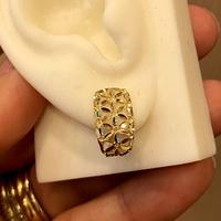 Brinco de Ouro 18K Diamantado Flores - MI26007 - MICHELETTI JOIAS