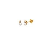 Brinco Infantil Pérola com Zirconia em Ouro 18K - MI13992 - MICHELETTI JOIAS