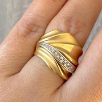Anel de Ouro 18K Acetinado com Brilhantes - MI15944 - MICHELETTI JOIAS