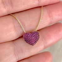 Gargantilha Ouro 18K Coração Cravejado de Zircônias Vermelha... - MICHELETTI JOIAS