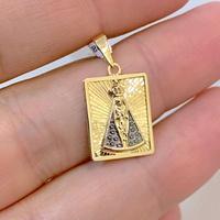 Pingente Retangular Nossa Senhora Aparecida Ouro 18K - MI253... - MICHELETTI JOIAS