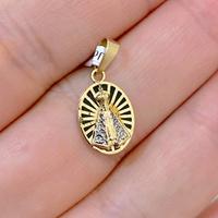 Pingente Oval Nossa Senhora Aparecida Ouro 18K com Resina - ... - MICHELETTI JOIAS
