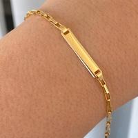 Pulseira Infantil de Chapa Cartier Alongada Ouro 18K 15cm - ... - MICHELETTI JOIAS