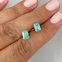 Brinco de Ouro Branco 18K Pedra Esmeralda - MI25256 - MICHELETTI JOIAS