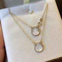 Escapulário Ouro 18K Medalhas Madrepérola Redonda - MI25545 - MICHELETTI JOIAS