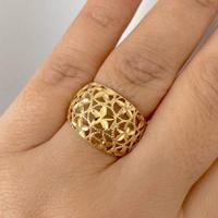 Anel de Ouro 18K Flores Diamantado Vazado - MI25178 - MICHELETTI JOIAS
