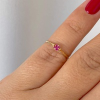 Anel Infantil de Ouro 18K Pedra Zircônia Vermelha - MI25171 - MICHELETTI JOIAS