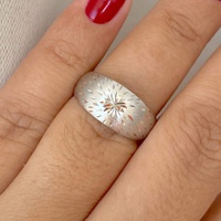 Anel de Ouro Branco 18K Abaulado com Detalhes Diamantados - ... - MICHELETTI JOIAS