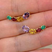 Brinco EarCuff com Pedras Naturais Coloridas Ouro 18K - MI25... - MICHELETTI JOIAS