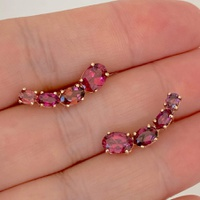 Brinco EarCuff Ouro Rosé 18K com Turmalinas Rosa - MI25224 - MICHELETTI JOIAS