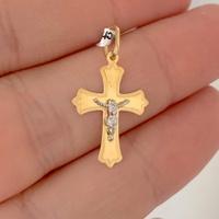Pingente Crucifixo de Ouro 18K Bicolor - MI25184 - MICHELETTI JOIAS