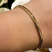 Bracelete Adulto Ouro 18K Meia Cana 3,5mm - MI24454 - MICHELETTI JOIAS