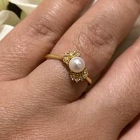 Anel de Pérola com Brilhantes de Ouro 18K - MI16757 - MICHELETTI JOIAS