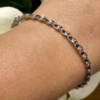 Bracelete de Ouro Branco 18K Modelo Grosso Fio Torcido - MI2... - MICHELETTI JOIAS