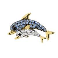Pingente Golfinho com Zircônias Coloridas em Ouro 18K - MI15... - MICHELETTI JOIAS