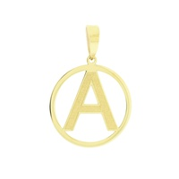 Pingente Letra A com Círculo em Ouro 18K - MI18228 - MICHELETTI JOIAS
