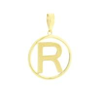 Pingente Letra R com Círculo em Ouro 18K - MI18224 - MICHELETTI JOIAS