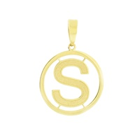 Pingente Letra S com Círculo em Ouro 18K - MI18225 - MICHELETTI JOIAS
