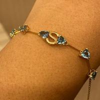 Pulseira de Ouro 18K com Letra S e Pedras Topázio Azul - MI2... - MICHELETTI JOIAS
